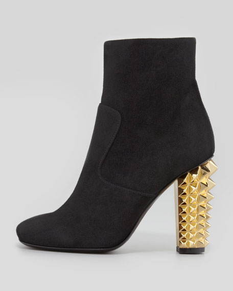 Studded-Heel Suede Ankle Boot