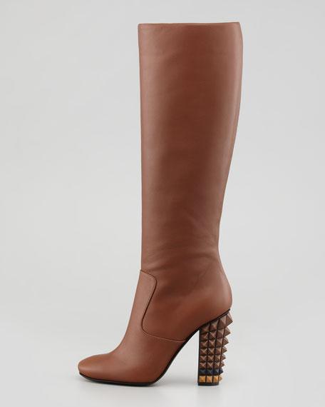 Napa Stud-Heel Knee Boot, Brown