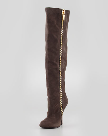 Suede Over-the-Knee Side-Zip Boot