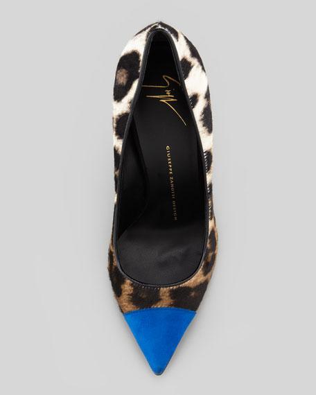 Leopard-Print & Suede Cap-Toe Pump