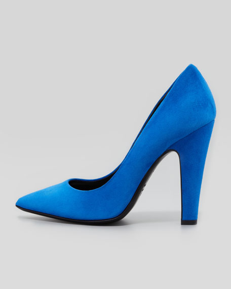 Suede Pointed-Toe Thick-Heel Pump, Blue