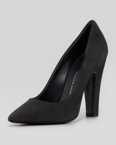 Suede Pointed-Toe Thick-Heel Pump, Black