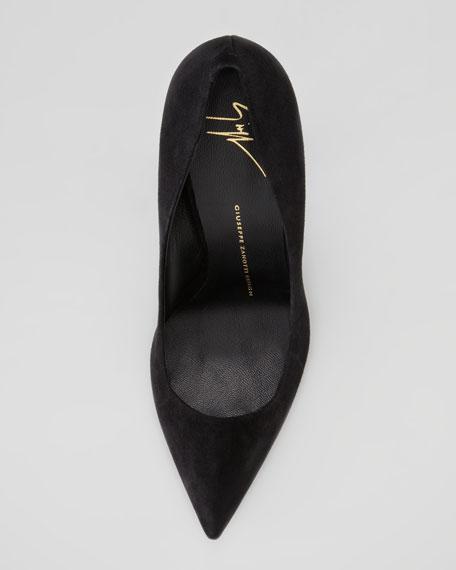 Suede Pointed-Toe Thick-Heel Pump, Black