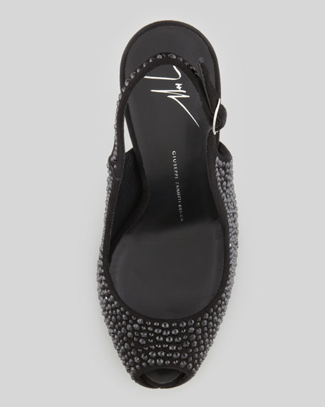 Crystallized Platform Peep-Toe Slingback, Black
