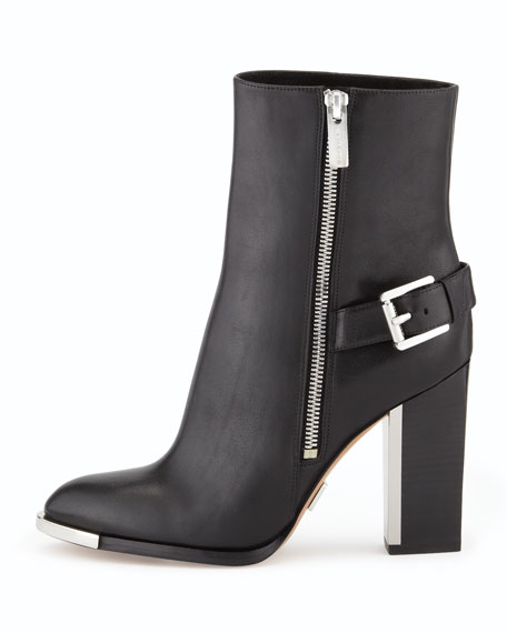 Janell Buckle-Heel Ankle Boot