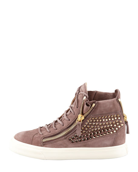 High-Top Crystal-Panel Sneaker, Dusty Rose