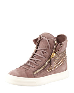 Giuseppe Zanotti High-Top Crystal-Panel Sneaker, Dusty Rose
