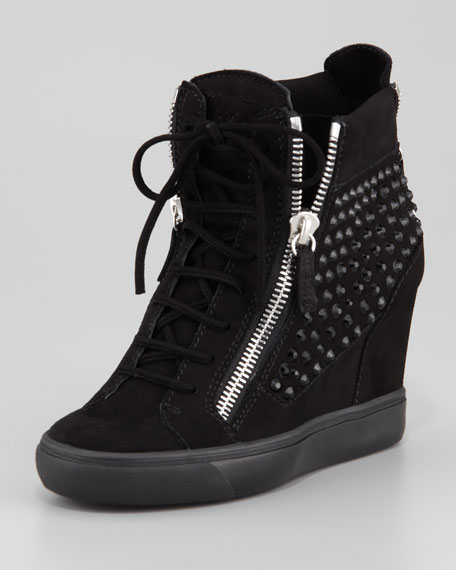 Giuseppe Zanotti Rhinestone Wedge Sneaker, Black