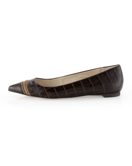 Haya Crocodile-Embossed Flat