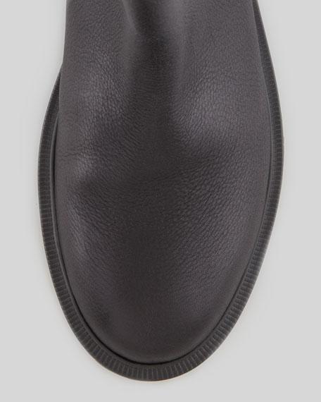 Flat Lug-Sole Ankle Boot, Black