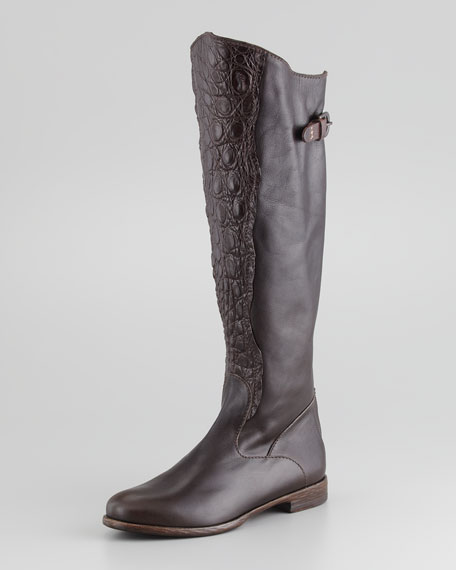 Leather Crocodile-Front Knee Boot