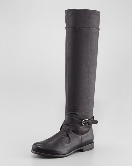 Stretch-Leather Knee Boot, Black