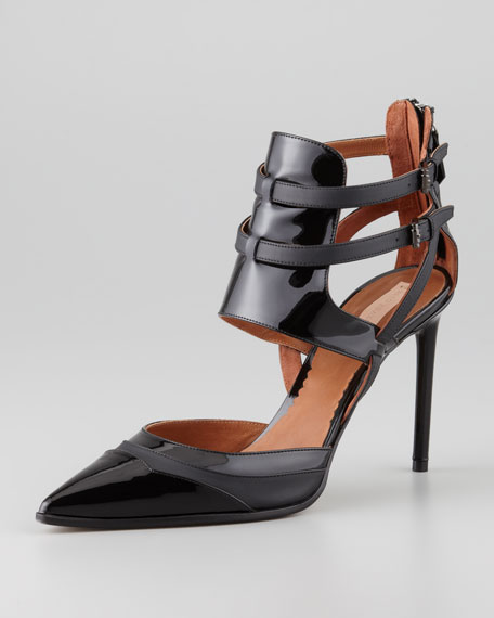 Pointed-Toe Ankle Harness Pump, Black