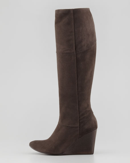 Jacqueline Suede Wedge Knee Boot, Gray