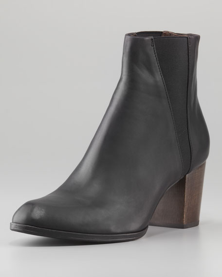 Audrey Leather Ankle Boot, Black