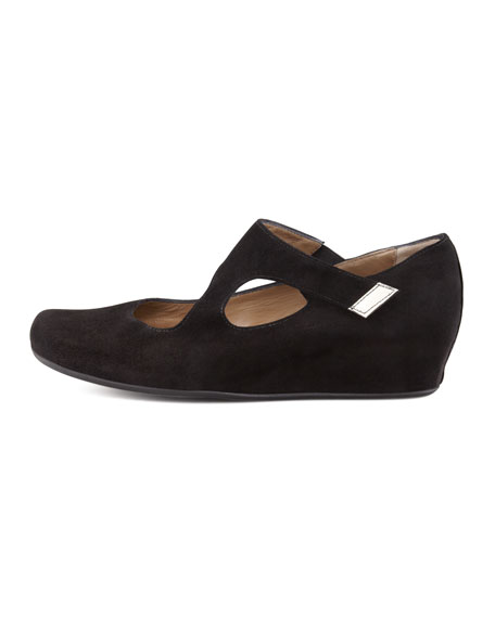 Shirlee Suede Grip-Strap Wedge, Black