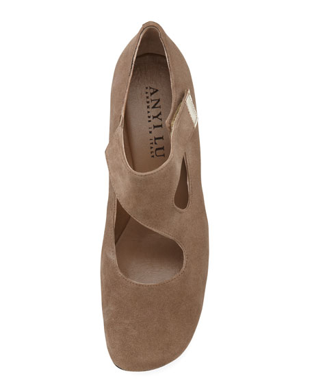 Shirlee Suede Grip-Strap Wedge, Stone
