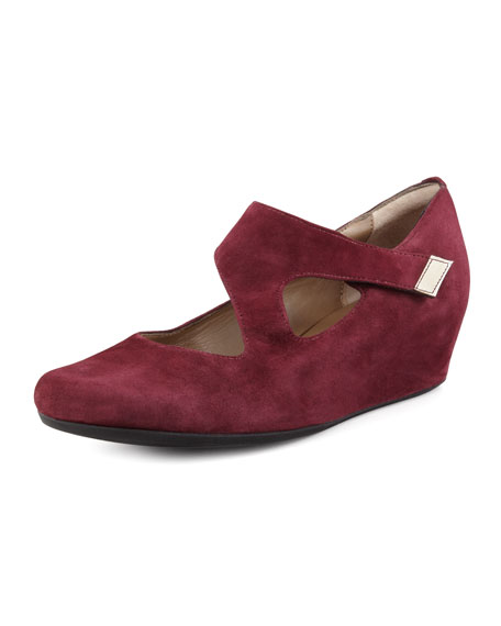 Shirlee Suede Grip-Strap Wedge, Bordeaux