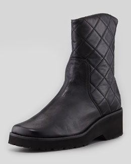 Anyi Lu Quinn Quilted Leather Bootie, Black