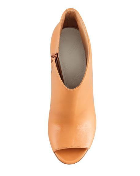 Mid-Heel Peep-Toe Ankle Boot, Camel