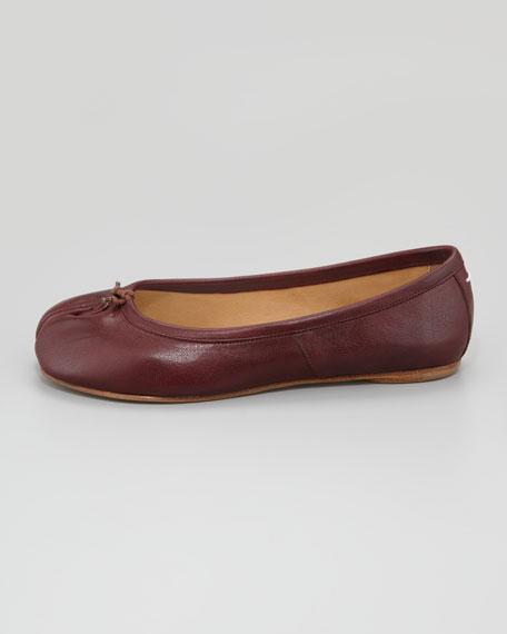 Split-Toe Ballerina Flat, Burgundy