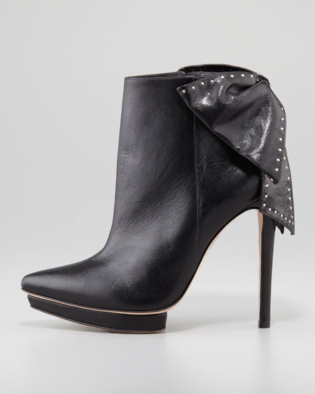 Darleen Bow-Back Leather Bootie, Black