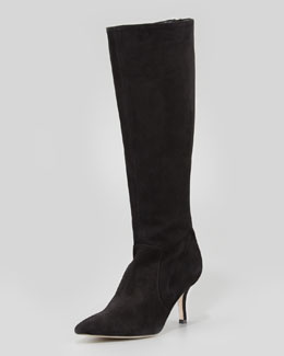 kate spade new york pointy stretch suede knee boot, black
