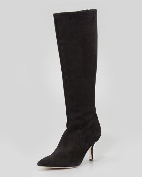 pointy stretch suede knee boot, black