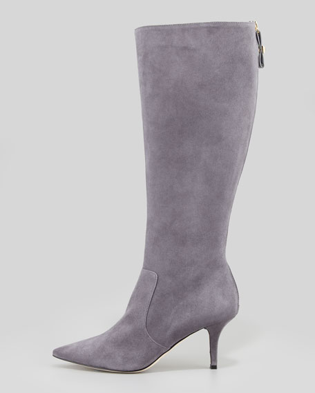 pointy stretch suede knee boot, london gray