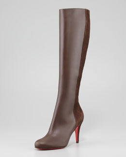 Christian Louboutin Acheval Suede-Back Knee Boot, Coffee