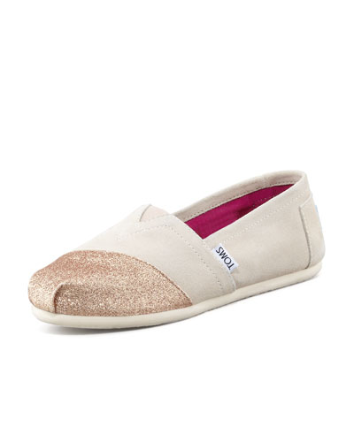 TOMS Glitter Cap-Toe Slip-On, Beige