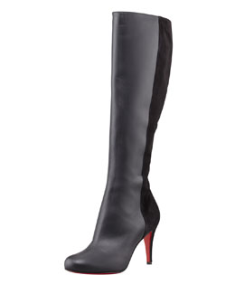 Christian Louboutin Acheval Suede-Back Knee Boot, Black
