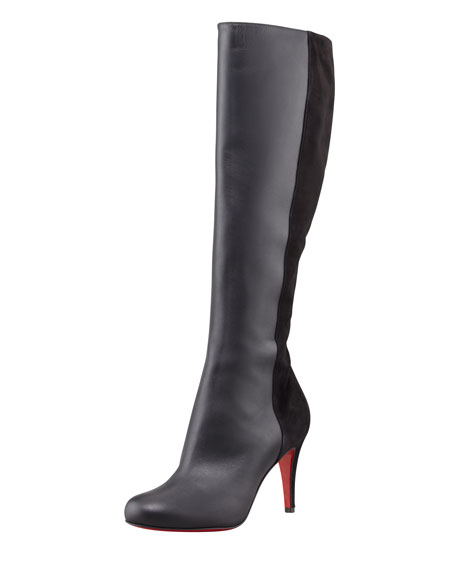 Acheval Suede-Back Knee Boot, Black