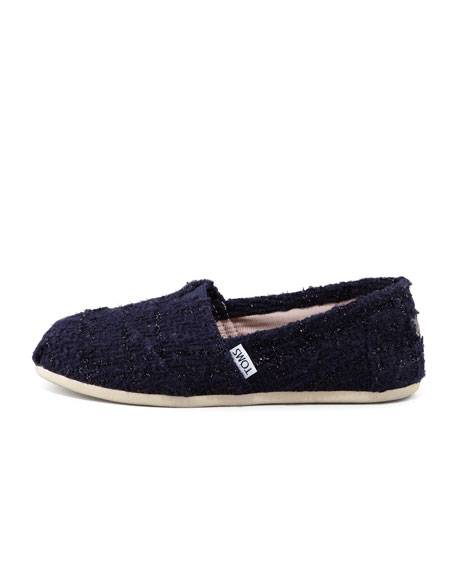 Shimmery Boucle Slip-On, Navy