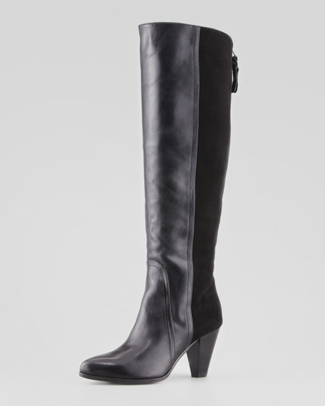Lombardia Suede-Back Knee Boot, Black