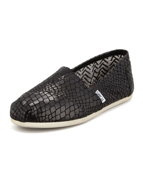 Snake-Print Leather Slip-On, Black