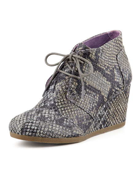 Snake-Print Wedge Desert Boot