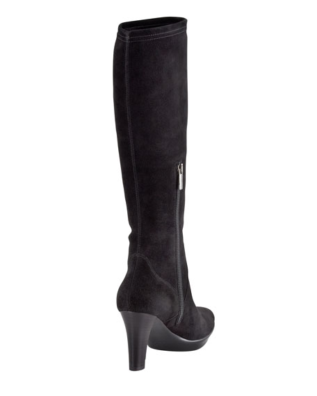 Rhumba Stretch Suede Tall Boot, Black