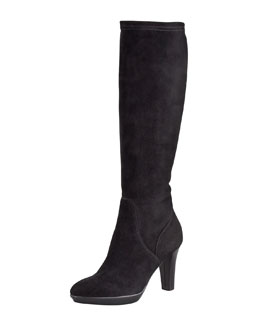 Aquatalia by Marvin K. Rhumba Stretch Suede Tall Boot, Black