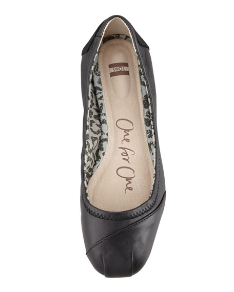 Leather Ballerina Flat, Black