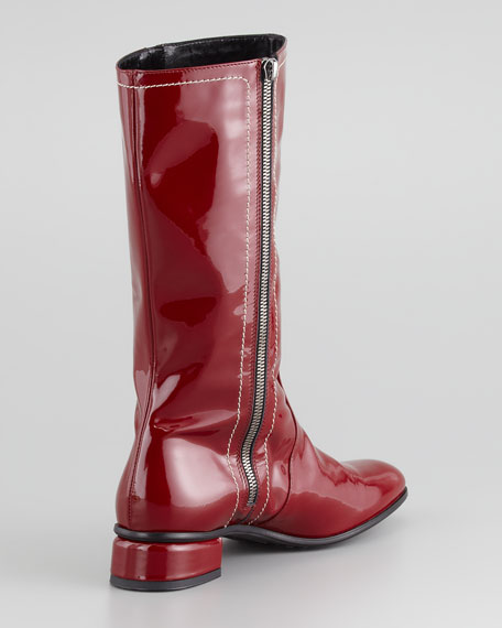 Lotus Weatherproof Patent Boot, Red