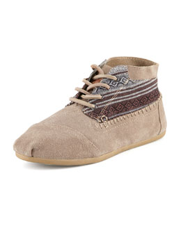 TOMS Suede Print-Top Lace-Up Bootie