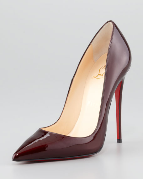 So Kate Patent Leather Point-Toe Pump, Rouge Noir