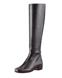 Christian Louboutin Tounoir Flat Red Sole Knee Boot, Black