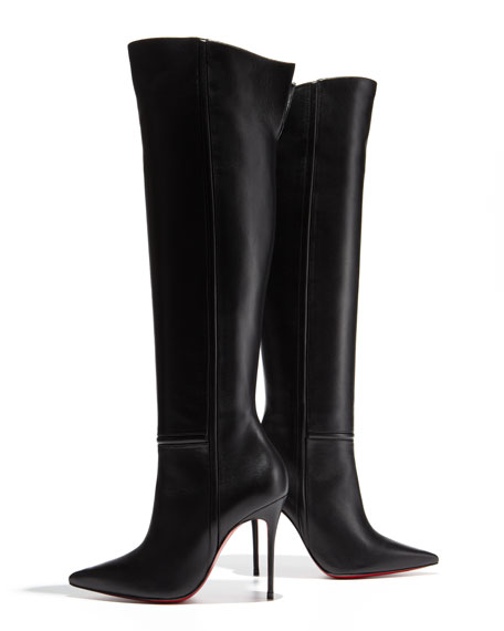 low priced c4d7e 6ec51 Armurabotta Thigh-High Pointy Red Sole Boot Black