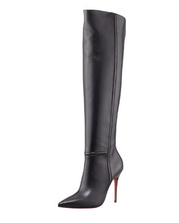 Christian Louboutin Armurabotta Thigh-High Pointy Red Sole Boot, Black