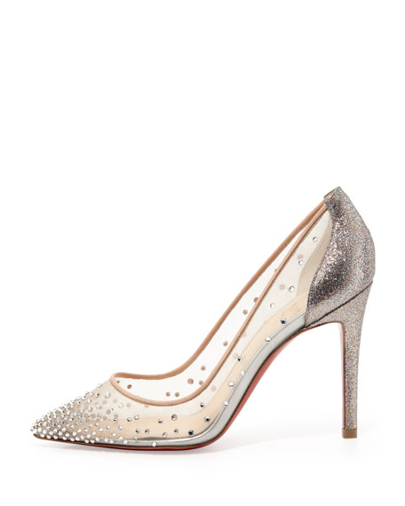 Body Strass Mesh Red-Sole Pump, Grenadine