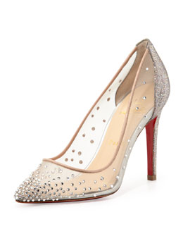 Christian Louboutin Body Strass Mesh Red-Sole Pump, Grenadine