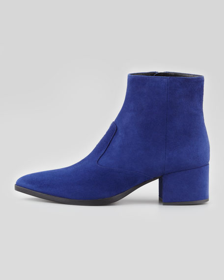Suede Point-Toe Block-Heel Ankle Boot, Navy
