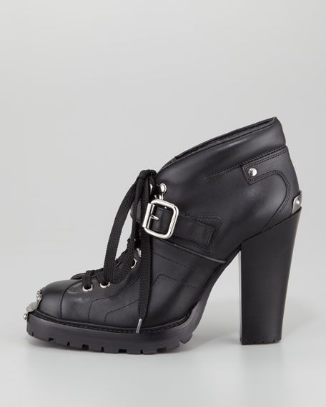 Buckle-Strap High-Heel Lace-Up Bootie, Black